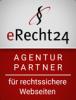 Logo für Agenturpartner bei eRecht24, mit Hinweis auf rechtssichere Webseiten
